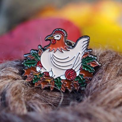 Logo for Ninja Chickens (as enamel pin)