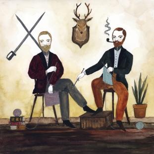 The Gentlmen Knitters, 2018, watercolor