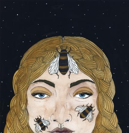 Queen of the Bees, 2018, watercolor